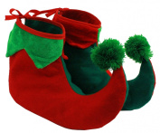 ELF SHOES BOOTS, CHRISTMAS FANCY DRESS ELF SHOE ACCESSORY ADULTS SANTA'S LITTLE HELPER GREEN RED ELVES COVERS ONE SIZE