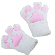 2x White Cat Foot Paw Plush Gloves Party Cosplay