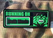 Running On Hulk Mode Airsoft hook and loop PVC Patch
