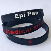 EPI PEN WRISTBAND S - EPIPEN MEDICAL ALERT - NEW 3 TONE BRACELET - 100% Silicone id card Emergency first aid identity rubber permanent ink Debossed band
