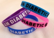 I am diabetic wristband in purple - medical alert diabetes silicone bracelet