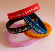 Type 1 Diabetes small child size silicone wristband in pink