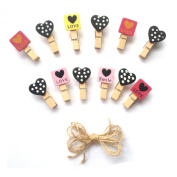 LWR Crafts Wooden Mini Clothespins Love and Heart Tropical 24 Pieces and Jute Cord 2.4m