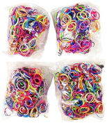 BlueDot Trading 2400-Piece Multicolor Rubber Band Kids Craft with Rainbow Bracelet Kit Refill Pack