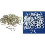 Nickel Plated Key Chain Rings w/ Chain & Silver Plated Open Jump Rings 200 Pcs