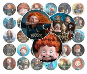 60 Precut 2.5cm BRAVE MERIDA Bottle Cap Images C
