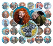 60 Precut 2.5cm BRAVE MERIDA Bottle Cap Images B