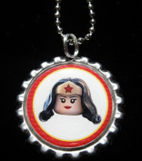1 THE LEGO MOVIE WONDER WOMAN Bottle Cap NECKLACE for Birthday Party Favour FLAT126