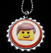 1 THE LEGO MOVIE EMMET Bottle Cap NECKLACE for Birthday Party Favour FLAT116