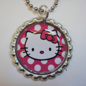 1 HELLO KITTY POLKA DOT Hot Pink Bottle Cap NECKLACE for Birthday Party Favour FLAT127