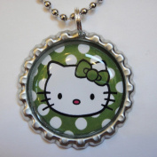 1 HELLO KITTY POLKA DOT GREEN Bottle Cap NECKLACE for Birthday Party Favour FLAT115