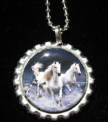 3.8lOPING HORSE Bottle Cap NECKLACE for Birthday Party Favour FLAT14