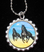3.8lOPING HORSE Bottle Cap NECKLACE for Birthday Party Favour FLAT13