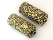 Tibetan brass repousse Frog design focal pendant bead - 1 bead- BD469A