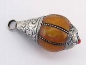 Medium Teardrop shape Tibetan silver capped copal resin pendant - 1 pendant - PM135