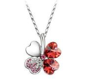 Liroyal Red Lucky Four Leaf Clover crystal Pendant Neacklace