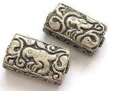 1 BEAD - Rectangular cube shape Tibetan silver repousse bird design bead - BD595B