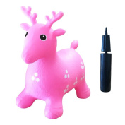 Inflatable Hopper #1 Rated and Cutest Bouncy Seat for kids on Amazon. Ruffio the Animal Deer . Bonus Pump. Safer Than Childrens Hopping Balls and Stick Horses - Made with USA Eco-Friendly Materials. 100% Lifetime . , Pink