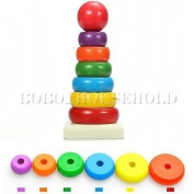 8Pcs Wooden Stacking Stack Up Nesting Rainbow Tower Ring Learning Toy Kids Baby