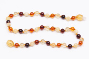 Round Multicolor Luxury Baltic Amber Beads Teething Handmade Knotted Baby Necklace
