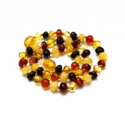 Multicolor Baroque Amber Teething Handmade Knotted Necklace for Your Baby