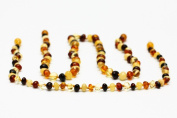 Set of Handmade Knotted Multicolor Amber Teething Baby Necklace and Mother Necklace