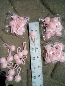 3.8cm Solid Pink Plastic Baby Rattle, Pack Of 48
