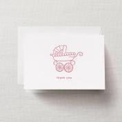 Crane & Co. Letterpress Pink Pram Thank You Note