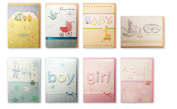 Assorted Congratulations Wishes for Baby Cards Box Set 8 Pack Handmade Embellished Assortment Greeting Cards for Boy or Girl Birth & Shower Card