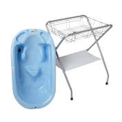 Primo EuroBath and Folding Compact Bath Stand -Blue Bath / Grey Stand