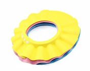 Safe Shampoo Shower Bathing Protect Soft Cap Hat for Baby Children Kids, button, yellow