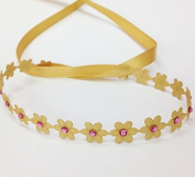 Matte Gold Flower Wrap with Pink. Rhinestones