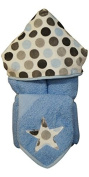 Tickle Toes - Blue & Grey Dot Hooded Towel on Blue