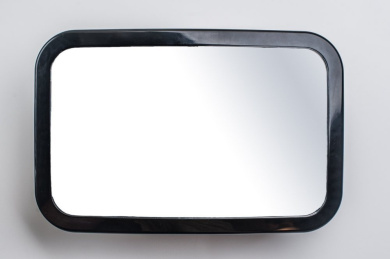 GreyJoy Back Seat Baby Car Mirror - Keep an Eye on Your Rear Facing Baby - Easily Straps on and Secures to the Headrest within Minutes - Large Clear Reflective Fully Adjustable Convex Mirror that Rotates and Pivots for that Perfect Viewing Angle - Have ..
