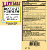 Lifeline Docusate Sodium Stool Softener 250mg Capsules, 100 Count