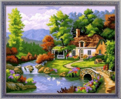 Diy oil painting, paint by number kit- Bucolic 16*50cm .