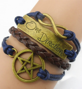 Handmade Entagram One Direction Charm for Friendship Gift - Fashion Personalised Leather Bracelet