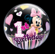 60cm Minnie Mouse 1st Birthday Bubble Balloons
