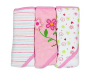 Spasilk Soft Terry Hooded Towel Set, Pink Flower, 3-Count