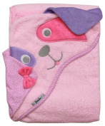 Extra Large 100cm x 80cm Absorbent Hooded Towel, Pink Dog, Frenchie Mini Couture