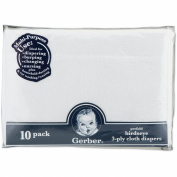 Gerber Birdseye 10 Count 3-Ply Prefold Cloth Nappies, White