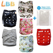 Baby Cloth Nappies Reusable One Size Pocket, 6 pc + 6 Inserts