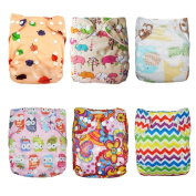 Alva Baby 6pcs Pack Pocket Washable Reusable Cloth Nappy with 2 Inserts Each (Girl Colour) 6DM09