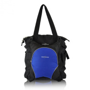 Obersee Innsbruck Nappy Bag Tote with Detachable Cooler, Black/ Royal Blue