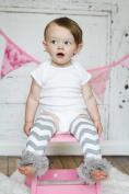 AllHeartDesires 1 Pair Grey & White Chevron Zig Zeg Toddler Kids Leg Warmer Baby Girl Boy Leggings Nursery Decor Gifts