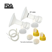 Maymom Breast Pump Kit for Medela Pump in Style Pumps; 2 One-piece Breastshields (Small, 21 mm), 2 Valves, 4 Membranes, & 2 Replacement Tubing for Pump-in-Style Advanced Sold After July 2006; Replace Medela PersonalFit 21 mm Breastshield & Personal Fit ..
