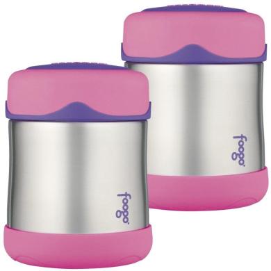 Thermos Foogo Leak-Proof Stainless Steel Food Jar, 210ml - 2 Pack (Pink)