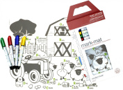 Modern-twist Kids Mark-Mat Colouring Silicone Placemat with 4 Markers, Farm Buddies