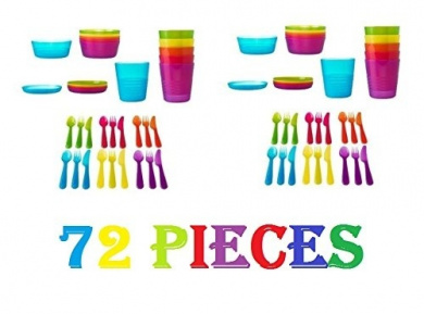 Ikea 72Pcs Kalas Kids Plastic BPA Free Flatware, Bowl, Plate, Tumbler Set, Colourful (72 Piece)