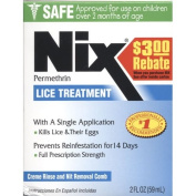 Nix Permethrin Lice Treatment with Crème Rinse (60ml) and Nit Removal Comb